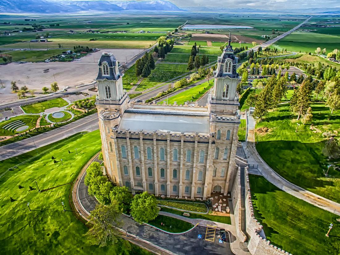 Manti Temple Aerial